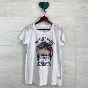 Torrid 00 M/L White Slub Knit Graphic Print Tee